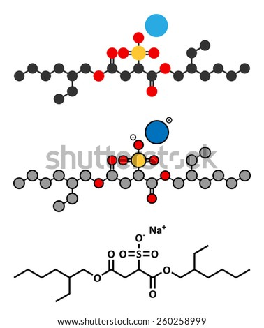 Docusate sodium (dioctyl sodium sulfosuccinate) stool softener drug molecule (laxative). Stylized 2D renderings and conventional skeletal formula.  - stock vector