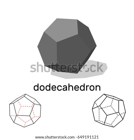 Dodecahedron. Geometric shape. Isolated on white background.Vector illustration.