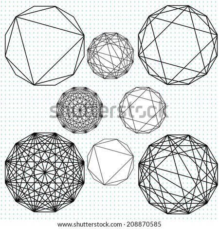 Dodecahedron graphics with varying levels of intersecting lines - stock vector
