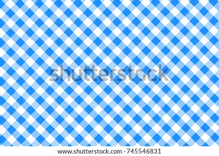 Dodger Blue Gingham Pattern. Texture From Rhombus/squares For   Plaid,  Tablecloths,