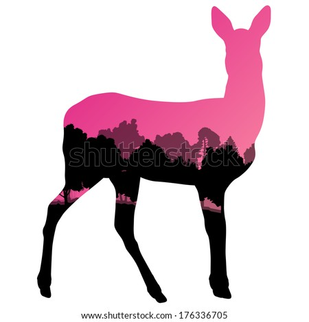 Doe venison deer animal silhouette in wild nature forest landscape abstract background illustration vector - stock vector