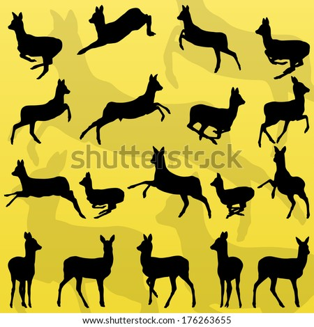 Doe venison deer wild forest animals silhouettes illustration collection background vector - stock vector