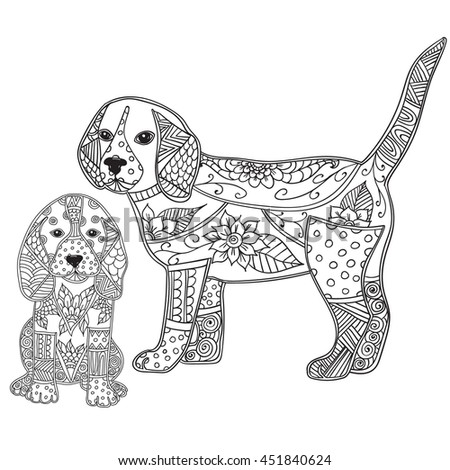 Dog Adult Antistress Children Coloring Page Stock Vector