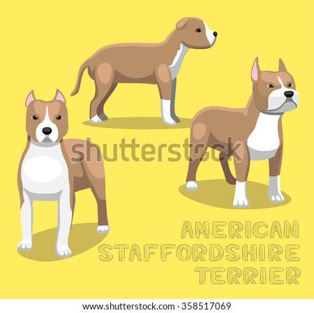 Dog American Staffordshire Terrier Cartoon Vector Illustration - stock vector