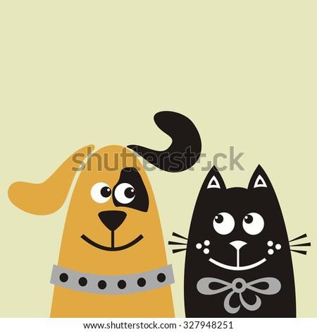 Dog and cat cute cartoon vector illustration - stock vector