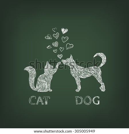 dog and cat painted white chalk on green school board - stock vector