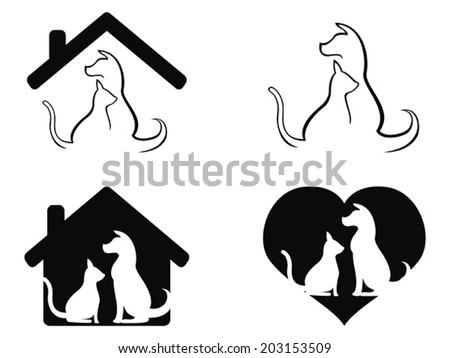 dog and cat pet caring symbol - stock vector