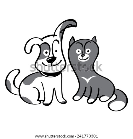 Dog and cat - pets, domestic animals, friends - stock vector