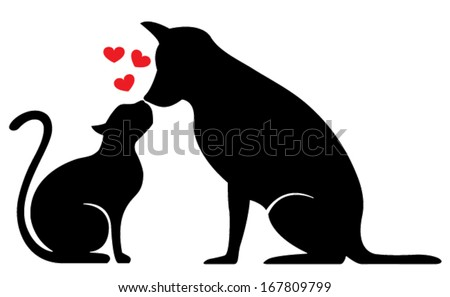 dog and cat silhouette on white - stock vector