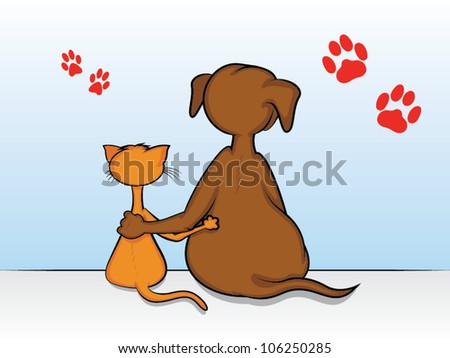 Dog and cat sitting with arms around each other stock vector