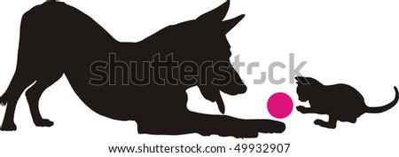 Dog and kitten, vector illustration, game of domestic friends - stock vector