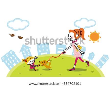 Dog and walk - stock vector