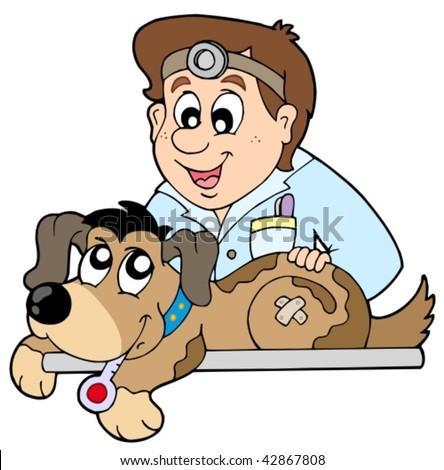 Dog at veterinarian - vector illustration. - stock vector