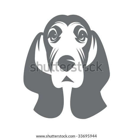 Dog Basset. 1 colour without a gradient - stock vector