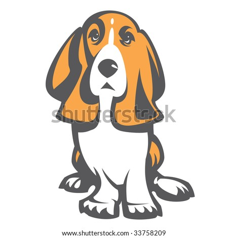 Dog Basset. 2 colours without a gradient - stock vector