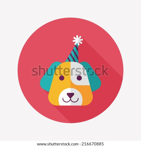 dog birthday flat icon with long shadow,eps10 - stock vector