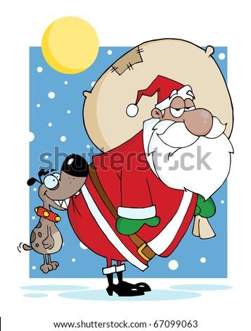 Dog Biting A Black Santas Butt In The Snow - stock vector