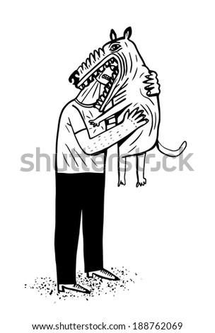 Dog biting a man's face - stock vector