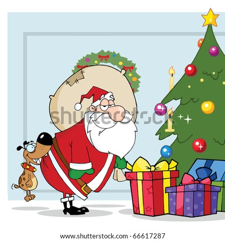 Dog Biting Santas Butt By A Christmas Tree Over Blue - stock vector