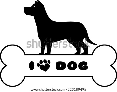 Dog Black Silhouette Over Bone With Text And Love Paw Print Vector Illustration Isolated On White Background - stock vector