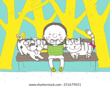 Dog, Boy and Cat - stock vector
