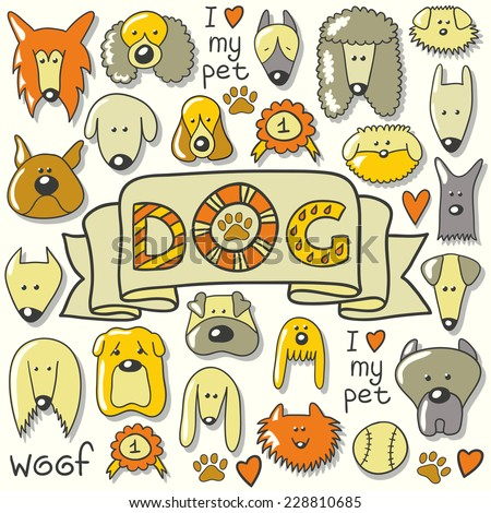 Dog breed collection with word dog. Cartoon Illustration of Different Funny Dogs Set. Hand draw illustration. - stock vector