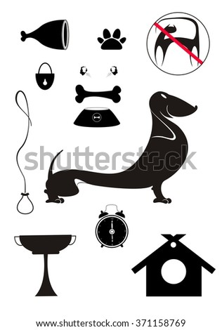 Dog breeding objects collection for design - stock vector