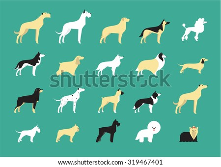 dog breeds illustration - stock vector