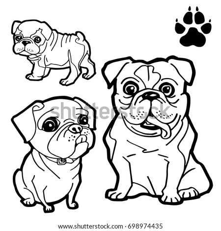 Dog Cartoon And Paw Print Coloring Book On White Background Vector