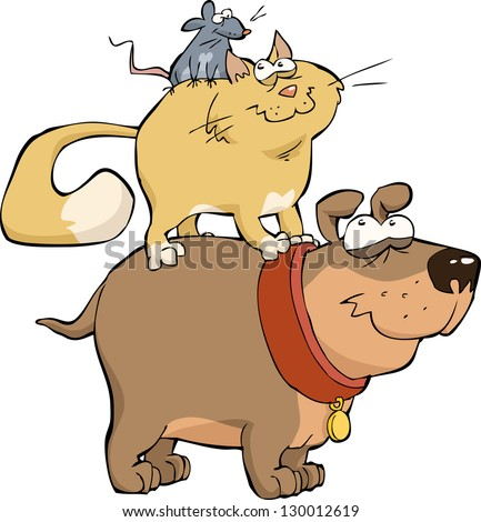 Dog cat and mouse together vector illustration - stock vector