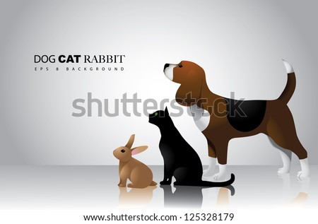 Dog Cat and Rabbit Vector Design EPS 8 no open shapes or paths grouped for easy editing. - stock vector