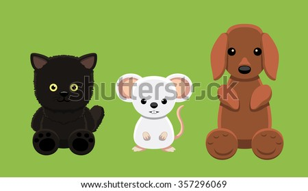 Dog Cat Mouse Pet Doll Cartoon Vector Illustration 5 - stock vector