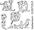 Dog, cat, rabbit and bird Brush drawing-based vector illustrations showing a group of animals. For advertisement of vet practices, pet shops, pet and animal feed shops and animal welfare organizations - stock photo