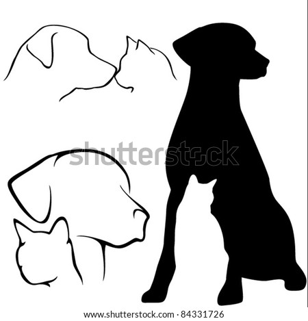 Dog & Cat Silhouettes - stock vector