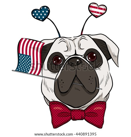 Dog celebrating 4th of July holding United States flag in mouth and hearts headband accessory - stock vector