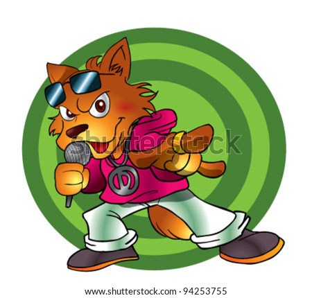 Dog character dancing - stock vector