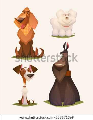 Dog characters. Cartoon vector illustration. - stock vector