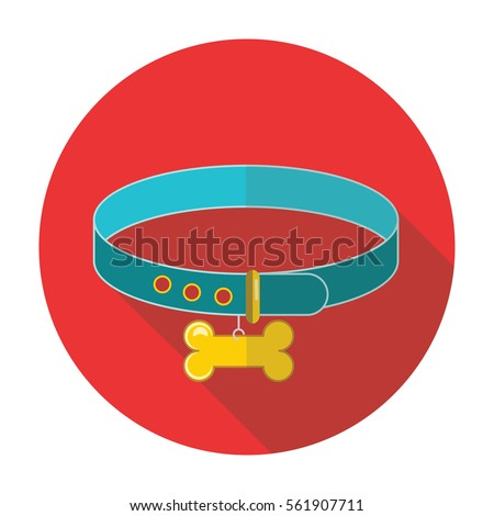 dog-collar flat style with long shadow isolated on red background. items for pets vector sign symbol