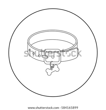 Dog Collar Icon In Outline Style Isolated On White Background Veterinary Clinic Symbol Stock Vector
