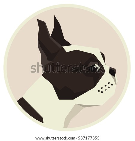 Dog collection Boston Terrier Geometric style icon round