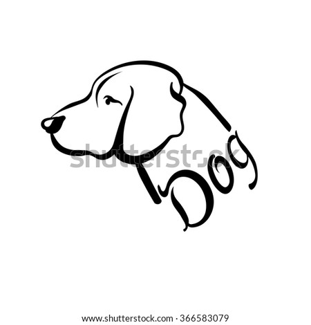 dog, dog silhouette, dog tattoo, dog logo, dog art, dog vector, dog template, black and white, graphic design, line art - stock vector
