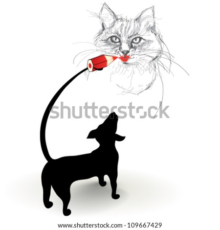 Dog drawing picture of funny cat  / Realistic vector sketches - stock vector