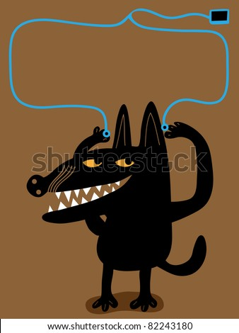 Dog, earphones and music player - stock vector