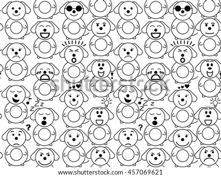 Dog emotions vector seamless texture on the white background