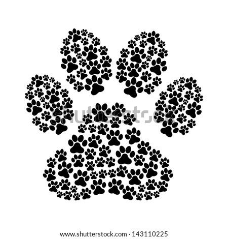 dog footprint over white background vector illustration - stock vector