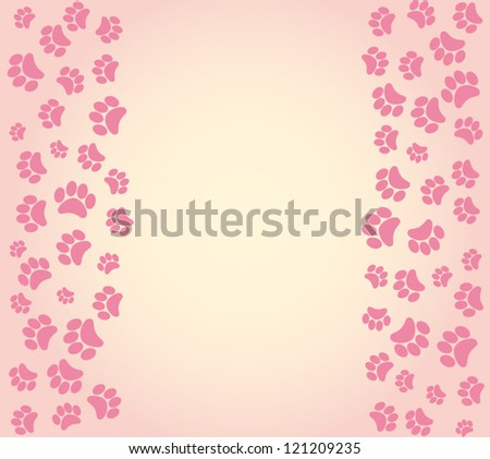 dog footprints background . vector illustration - stock vector