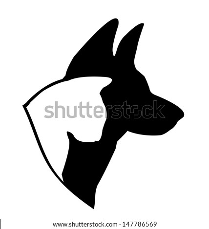 Dog (German shepherd) and cat silhouettes illustration vector - stock vector