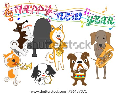 Dog Greeting Card Dog Plays Music Stock Vector 736487371 - Shutterstock