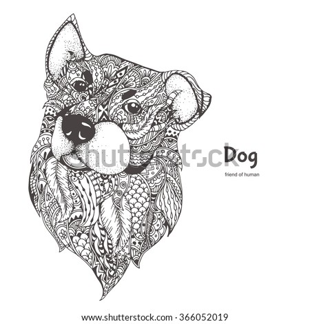 Dog. Hand-drawn dog side view with ethnic floral doodle pattern. Coloring page - zendala, design for  relaxation and meditation for adults, vector illustration, isolated on a white background. - stock vector
