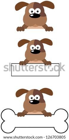 Dog Head Cartoon Mascot Characters-Vector Collection - stock vector